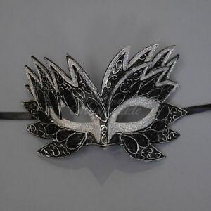 Sea Unicorn Mardi Gras Venetian Masquerade Mask for Women M7240 (Black/Silver]
