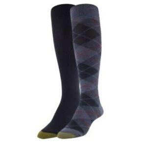 Gold Toe Women's 2 Pack Plaid Knee-High Socks Gray Black NEW NWT