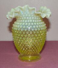 "Fenton Opalescent Ruffled Hobnail Topaz Vaseline Glass Vase 6"""
