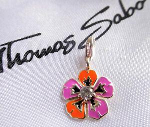 THOMAS SABO **Kleine Blume** Emaille 925 Sterlingsilber Charm
