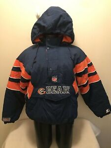 Vintage Chicago Bears Starter Hooded Pullover Jacket Mens XL