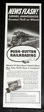 1939 OLD MAGAZINE PRINT AD, LIONEL ELECTRIC TRAINS, GREATEST THRILL ON WHEELS!