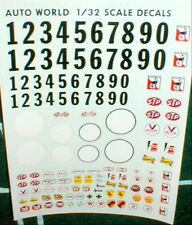 Racing Decals Sponsor Names 0-9 + White Circle Complete sheet Auto World 1/32NOS