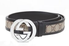 "Top Condition GUCCI Signature Interlocking G Leather & Canvas Belt Sz 38""-42"""