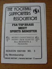 1987/1988 Football Supporters Association: Newsletter No.03