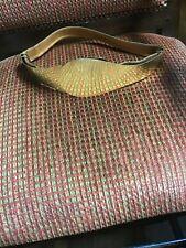 Large True Vtg 70s Artisan Brass Buckle Leather Strap Ladies Belt