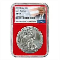 2020 $1 American Silver Eagle NGC MS69 ER Trump Label Red Core