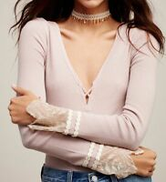 NWT Free People Last Dance Cuff Thermal Top Sz M Medium Sold Out Pink