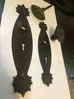 RARE MARQUISE ANTIQUE VICTORIAN CAST BRASS BRONZE ENTRY DOOR KNOB PLATE HARDWARE