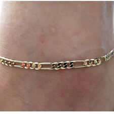 Simple Men Women Gold Tone Alloy Curb Cuban Link Anklet Foot Chain Jewelry S