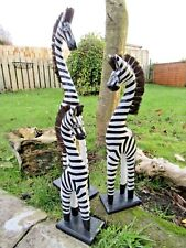 More details for fair trade hand carved made wooden standing wild zebra ornament sculpture statue
