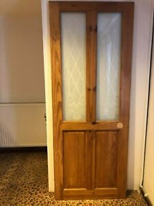 4 panel pine Victorian style door with etched glass panels