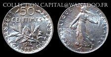 50 Centimes 1916 Côte SPL 25€ FDC 50€ Argent/Silver