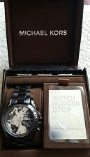 MICHAEL KORS LIMITED EDITION NWT WATCH HUNGER STOP MENS Black Stainless SALE!!