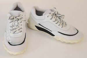 Chanel white 10 40 mesh knit leather CC logo low top trainer sneaker shoe $1050