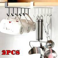 2PCS 6 Hooks Metal Under Shelf Mug Cup Cupboard Kitchen Hanging Rack Holder