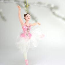 """Nutcracker Ballet Adult Ballerina in Pink/White  6.7"""" Resin  Christmas Ornament"""