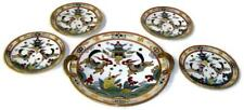 Antique Nippon Noritake Gilt Dessert Set w Manji 3 Tiered Pagoda Dragons & Koi