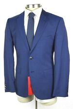 NWT HUGO BOSS RED LABEL Jeys Shaft Blue Wool Flat Front Suit 40 R Regular Fit