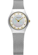 Bering Women 11923-004 Classic White Dial Silver Stainless Steel Mesh Band Watch