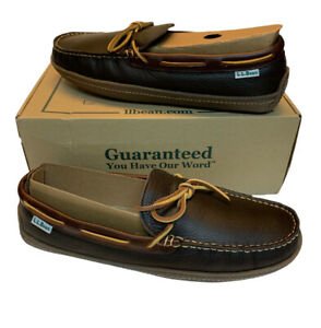 LL Bean Handsewn 212164 Brown Leather Flannel Moccasin Slippers Mens 10 M NEW