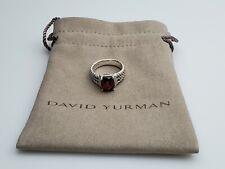 David Yurman Petite Wheaton Ring with Garnet and Diamonds 10x8mm Size 6