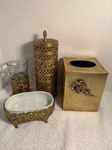 Vintage Hollywood Regency Soap Dish Porcelain Metal Gold Holder Only Japan