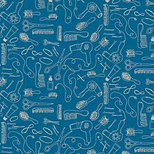 Fabric Hairstylist Things White Sketched on Teal Cotton by the 1/4 yard BIN