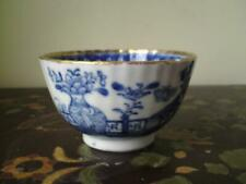 18thc Chinese Qianlong Blue and White Export gilt Porcelain Teacup Bowl