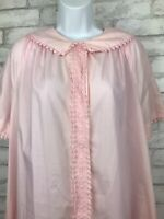 Vintage Boho Pink With Crochet Trim Mod Snap Front House Coat Robe Size L/XL