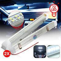 2x 12V 72 LED Auto Car Interior White Strip Lights Bar Lamp Van Caravan & Switch