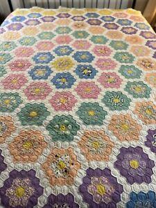 OMG Vintage Handmade Hand Quilted Feed Sack Grandmother Flower Garden Quilt #510