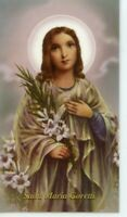 St. Maria Goretti - Relic Laminated Holy Card - Blessed by Pope Francis