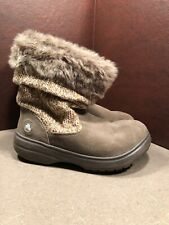 CROCS Warm Winter Boots KHAKI Suede Slouch Knit Fur Lined, Size W 8