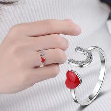 Charms Heart Shape Crystal Rings For Women LOVE U Pattern Rings Fashion Jewelry