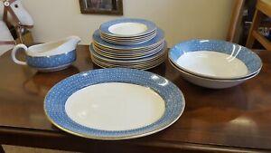 Swinnertons VANITA Part Dinner Set Blue & White Spots & Flower Design