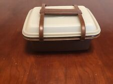 Tupperware Brown Lunch Box With Handle Pack N Carry Vintage Plastic