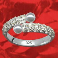 Elegant Damenring Echt 925 Sterling Silber Strass Zirkonia + Perlen