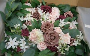 Wedding Arch Flowers Kit -Dusty Rose & Burgundy Artificial Floral Arrangement