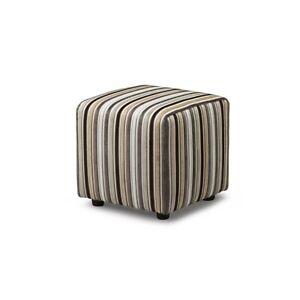 Biagi Upholstery & Design Small Cube Footstool in Teal Striped Velvet