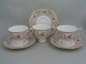 THREE ROYAL CROWN DERBY LUCIENNE TEA CUPS AND SAUCERS.