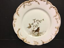 ANTIQUE HAVILAND & CO. LIMOGES HAND-PAINTED SCALLOPED BIRD PLATE w/Hanger~LOVELY