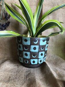 Vintage Mid Century Plant Pot Fat Lava Circles Squares Planter Yellow Lined
