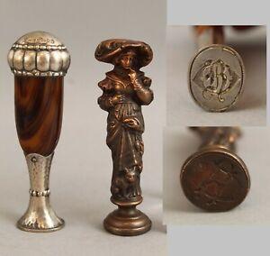 2 Antique Victorian Bronze Lady & Sterling Silver Engraved Desktop Wax Seals NR
