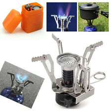 Outdoor Picnic Butane Gas Burner Portable Mini Steel Stove Case Camp Backpacking