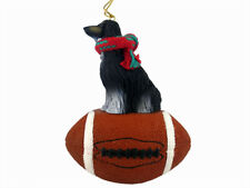 Afghan Hound Dog Black White Football Sports Figurine Ornament