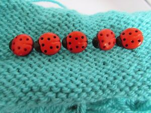 15mm Red and Black Ladybird Buttons Shank Fastening in Packs of 10 or 20
