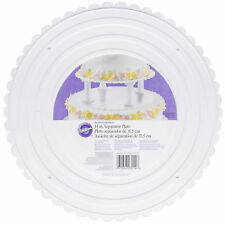 "Wilton 14 "" White Scalloped Edge Round Separator Cake Plates Preffered Decorator"