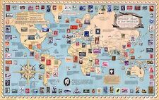 1959 pictorial map History of Stamps Penny Black Worlds Rarest POSTER 8618000