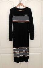 Abercrombie & Fitch Sweater Dress L Midi Bodycon Black Striped Long Sleeve New